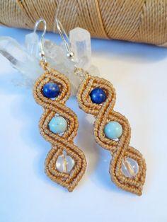Beige Macrame Earrings with Gemstone beads Handmade Creation