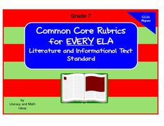 Common Core Rubrics for Grade 7.  This document provides a rubric for EVERY ELA Literature and Informational Text Standard. $4