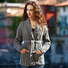 One of our all-time favorites. The Irish Aran Belted Sweater Jacket from the National Geographic Store mixes today's style with time-honored handcrafted technique in a cable and trellis pattern.