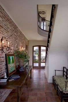 Entry Foyer, great use of brick inside.