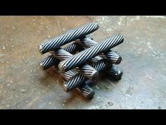 Forged cable Mosaic damask steel from the cable making a blade - YouTube