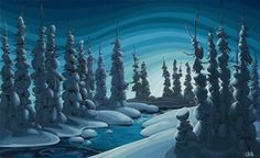 Purchase original paintings, giclee prints, and paper prints from the Chili Thom Fine Art Gallery. Featured Canadian artists from Whistler, Vancouver and Sea to sky corridor. Night Sky Painting, River Painting, Painting Inspiration, Art Inspo, Snowy Trees, Powerful Art, Forest Illustration, Tree Silhouette, Canadian Artists