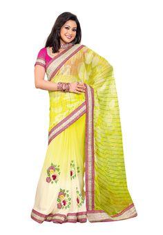 #Designer Light Yellow #Sari #USA  Check out this page now :-http://www.ethnicwholesaler.com/sarees-saris