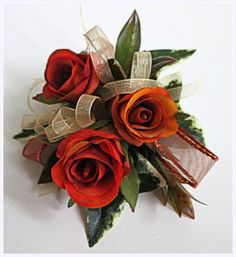 Faux Corsage - Wedding Corsage - Anniversary Corsage - Prom Corsage - Mother's Day Corsage - Burnt Orange Spray Roses Corsage