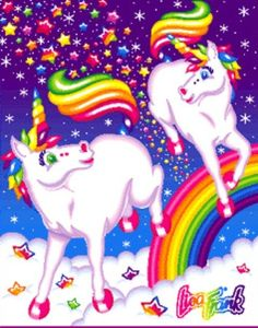 Lisa Frank - playful Unicorns.. My favorite style of unicorns ever!!