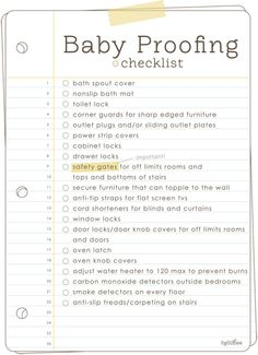 Baby proof your house! What a helpful checklist!