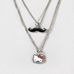Hello Kitty Mustache Necklace Set | Claire's look how cute @Andrea Nowak