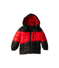 U.S. POLO ASSN. Kids Color Block Puffer Jacket with Removable Hood (Toddler) Red/Black - 6pm.com