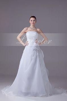 Fabulous A-Line Chapel Train Strapless White Organza Ruffles with Beading Wedding Dress