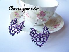 Earrings lace Swaroski semi precious beads - vintage style - medium silver buckles - chain - craft tatted lace