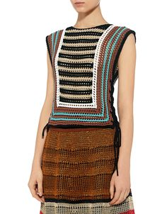 Red Valentino: Crochet Striped Cropped Knit Top (zoom item view - 3)