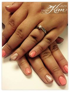 Soft pink and nude gel polish done by Jessica! colorsbykim.com