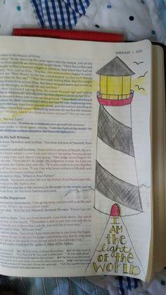 Bible Art Journaling ~ John ~ Light of the world ~ lighthouse