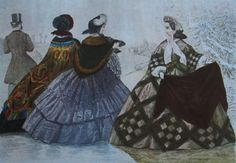 Victorian fashions reflect clothing worn between 1837 - Despite the prim and proper feminine ideal, Victorian clothing includes outrageous styles like hoop skirts and bustles. Victorian Women, Victorian Era, Victorian Fashion, Civil War Fashion, 1800s Fashion, Crinoline Skirt, Civil War Dress, Hoop Skirt, Engraving Illustration
