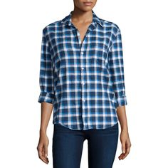 Frank & Eileen Eileen Button-Front Flannel Shirt ($230) ❤ liked on Polyvore featuring tops, blue pattern, blue flannel shirt, tartan shirt, flannel shirts, pattern shirts e plaid top