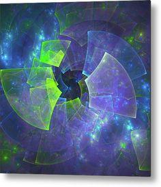 Mariia Kalinichenko Metal Print featuring the digital art Blue Vinyl Record Music by Mariia Kalinichenko #MariiaKalinichenkoFineArtPhotography #FineArtPrint #Music #AbstractArt #BlueFractal