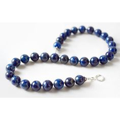 Statement Lapis Necklace Grade AB Lapis Lazuli Necklace Sterling... ($254) ❤ liked on Polyvore featuring jewelry