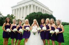 Washington DC Wedding Ceremony Purple Bridal Party 550x366 Sophisticated Destination Wedding Ceremony in Washington DC: Katie + Mike