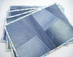Recycled Denim Placemats - or Mug Rugs. Something to do with all that denim in my stash. Jean Crafts, Denim Crafts, Diy Jeans, Place Mats Quilted, Denim Ideas, Mug Rugs, Upcycle, Sewing Projects, Recycling