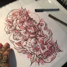 Resultado de imagen de wolf in sheepskin tattoo new school