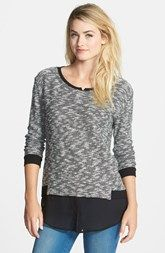 Two by Vince Camuto Layered Look Mixed Media Sweater (Regular & Petite)