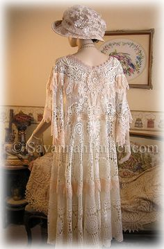Antique Style Edwardian Downton Gatsby 20s Handsewn Lace Dress by savannahparker on Etsy