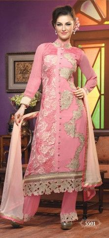 Heavy designer fancy Pink coloured semi stitched salwar suit