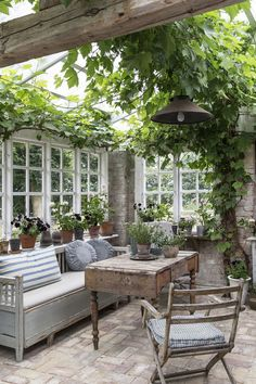 17 conservatories and garden rooms ideas - Garden shed renovation ideas design wintergarten 17 conservatories and garden rooms to inspire you to bring the outdoors in Outdoor Rooms, Outdoor Furniture Sets, Outdoor Decor, Garden Furniture, Cottage Furniture, Outdoor Living Spaces, Outdoor Gardens, Small Courtyard Gardens, Courtyard Ideas