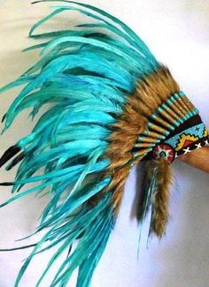 Amazing Turquoise Feather Headdress 42 Scrollwork with Turquoise Yarn, Hat Full Leather by handmade, http://www.amazon.com/dp/B00EXMSEYK/ref=cm_sw_r_pi_dp_1tCtsb0B5XTP3