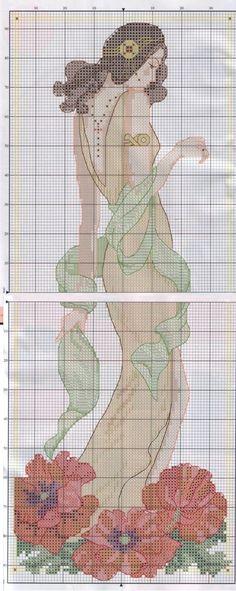 0 point de croix femme et coquelicots - cross stitch girl and poppies