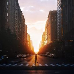 Street sunset in NYC. Photo courtesy of nyroamer on Instagram.