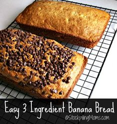 Easy 3 Ingredient Banana Bread that tastes delicious and is so simple to prepare!