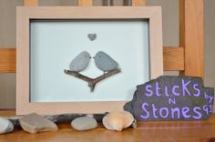 Pebble Art Picture 'Love Birds'  Ideal for Valentine