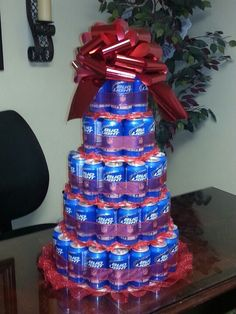 Budlight beer can cake...great idea for bachelor party...maybe it should be a KEG!