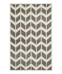 Look at this Dark Gray & Ivory Chevron Minnie Wool Rug on #zulily today!