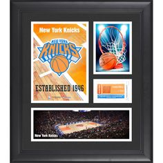 """New York Knicks Fanatics Authentic Framed 15"""" x 17"""" Team Logo Collage with Team-Used Basketball - Limited Edition of 250 - $63.99"""