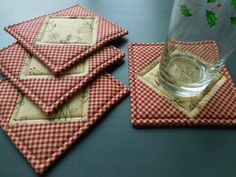 Christmas Quilted Coasters beige print, homespun red fabric/ Set of Four/ Holiday decor by RubysQuiltShop on Etsy