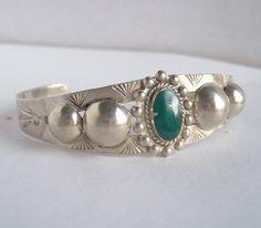 Vintage Fred Harvey Era Silver Bracelet,Green Turquoise Bracelet,Turquoise Silver Cuff,Fred Harvey,Native American,Cuff Bracelet,Ingot,Cuff by Oldtreasuretrunk on Etsy