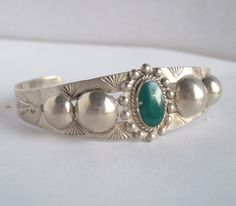 Vintage Fred Harvey Era Silver Bracelet,Green Turquoise Bracelet,Turquoise Silver Cuff,Fred Harvey,Native American,Cuff Bracelet,Ingot,Cuff by Oldtreasuretrunk on Etsy