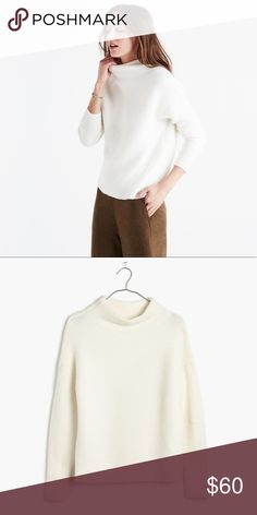 fd9f9205e Madewell • Southfield Mockneck Ivory Sweater Adorably cozy soft sweater by  madewell! Has a flattering chic mock neckline. Great condition!