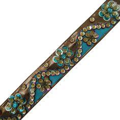 cinta azul del ajuste lentejuelas decorativas que hacen a mano la frontera del cordón ropa azul por 1 yarda: Amazon.es: Hogar