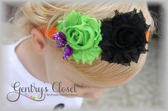 Halloween Headband for Newborn Baby to Little Girl. Shabby Chic Flowers. Made to match costumes for pumpkin, ghost, witch.. $8.95, via Etsy.