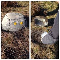 A nice fake rock concealing the geocache container!  Being a night cache, the reflectors stand out a bit during the day, showing it's not your typical rock.  (instagram pic by stine.hougaard)  #IBGCp
