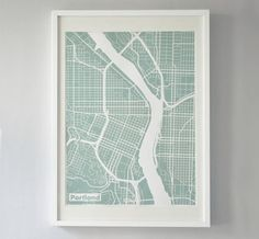 portland print map. also available, LA, NYC, Chicago and SF.