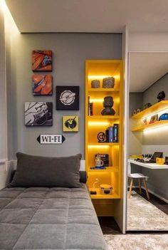 Awesome 20 Adorable Teenage Boy Room Decor Ideas For You Bedroom Setup, Boys Bedroom Decor, Small Room Bedroom, Room Ideas Bedroom, Modern Bedroom, Bedroom Designs, Bedroom Décor, Boys Room Design, Small Room Design