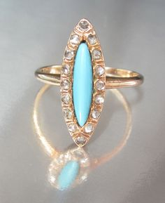 Antique Victorian Navette Turquoise and by magwildwoodscloset, $399.00