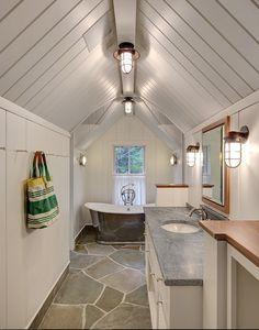 Cottage Bathroom with Blue Stone Paver Flooring. #BlueStonePavers #Flooring Colby Construction.