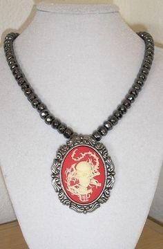 Skull and Snake Cameo Pendant/brooch  by CreationsbyMaryEllen, $13.50