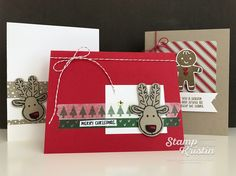 Get the supplies to make 12 of these cards absolutely free! Kristin Kortonick is offering a stamp-a-stack by mail in October featuring the Cookie Cutter Christmas stamp set.