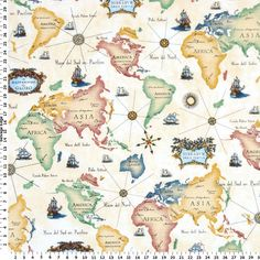 Cotton linen fabric cloth diy cloth art manual cloth nautical map world map on cotton fabric gumiabroncs Gallery